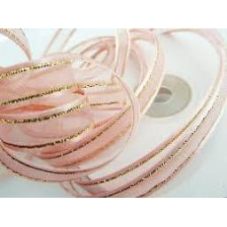 Organza satin edge ribbon 10mm x 25m Pink/Gold
