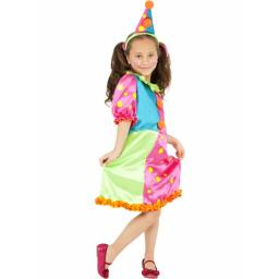 Miss Brighty Buttons Child Clown Dress SMALL