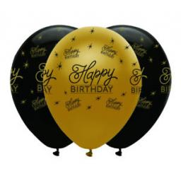 6 Happy Birthday Printed Latex 12 inch Helium Quality Balloons Gold & Black