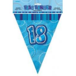 Flag Banner Blue Glitz 18th