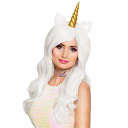 Wavy Angel Unicorn Pony Wig with Gold Horn Silicone Ears