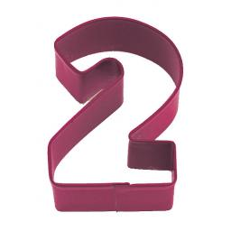 Cookie Cutter Number 2 (7.5cm) Red Polyresin Metal