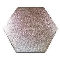 11 Inch Hexagon 12mm Cake Drum - Silver