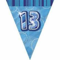 Blue Glitz Flag Banner 13th Birthday 9Ft Long
