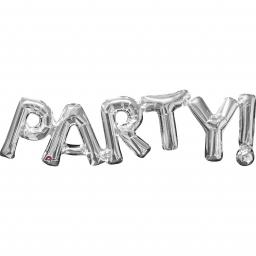 Party! Air Fill Phrase Silver Supershape Foil Balloon 33x9inch