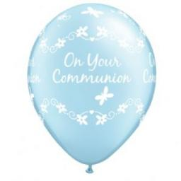Blue Christening 11 inch Latex Butterflies Printed Balloons 6pcs Helium Quality