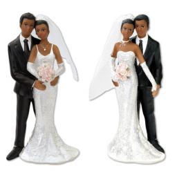Black Bride And Groom Standing 13cm Choice of 2 Assorted