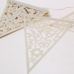 Ivory Laser Cut Paper Lace Bunting (20 flags)