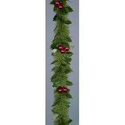 2.7M Tinsel Garland with Red Balls