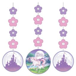 Unicorn Fantasy Happy Birthday Party Paper Hanging Cutouts 3ct