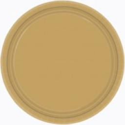 8 Paper Party Plates Old Gold 7inch