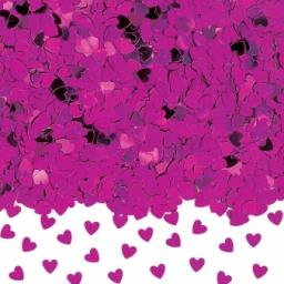 Hot Pink Sparkle Hearts Metallic Confetti - 14g
