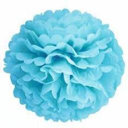 Puff Ball Paper Decoration 16 inch Light Blue