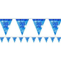 Flag Banner Blue Glitz 16th Birthday / Anniversary