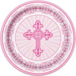 Radiant Cross Pink Paper Plates 8ct 21.9cm