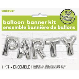 "14"" Silver Party Balloon Banner Kit"