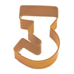 Cookie Cutter Number 3 (7.5cm) Orange Polyresin Metal