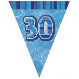 Flag Banner Blue Glitz 30th Birthday / Anniversary