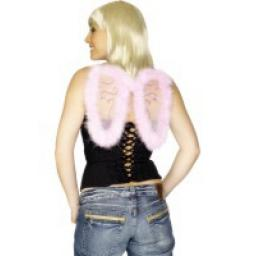 Mini Glitter Wings Pink Marabou Trim