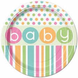 Pastel Baby Shower Lunch Plates - 8pcs 21.9cm