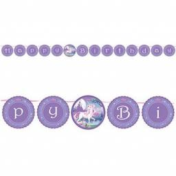 Unicorn Happy Birthday Circle Ribbon Banner 2.28m