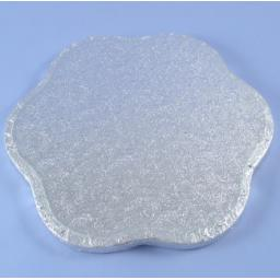 14 Inch Petal 12mm Cake Drum - Silver