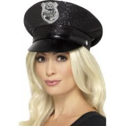 Fever Sequin Police Hat Black