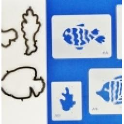 Cake Stencil & Cutters Set Fish P/W