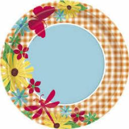 Floral Garden Check Paper Plates 8ct 9inch