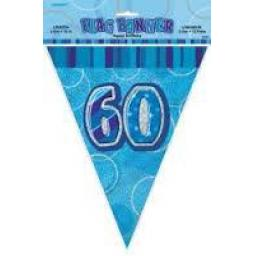 Flag Banner Blue Glitz 60th Birthday 3.6m