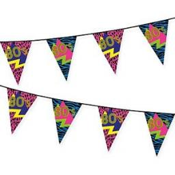 80s Triangular Bunting Retro Neon 6m Pennant Flag