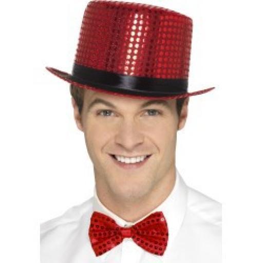 Sequin Top Hat Red
