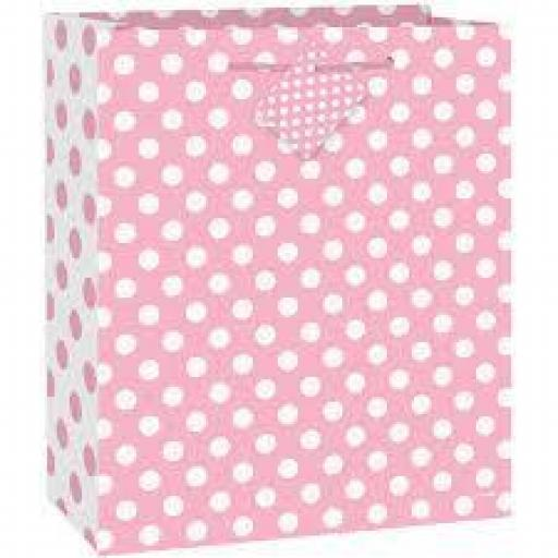 Baby Pink Polka Dot Gift Bag 12.5 inch x 10.5 inch