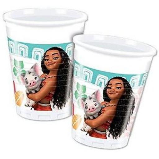 Moana Plastic Party Cups 200ml (pack quantity 8)