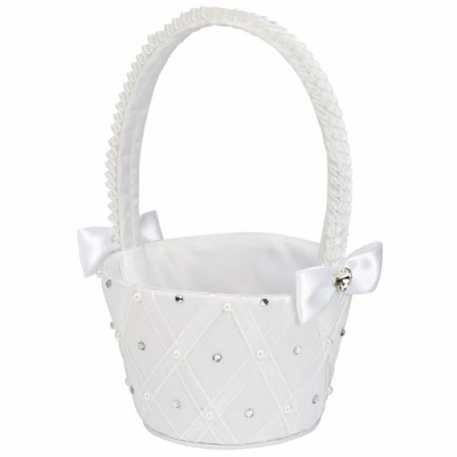 Satin round bridesmaid basket white