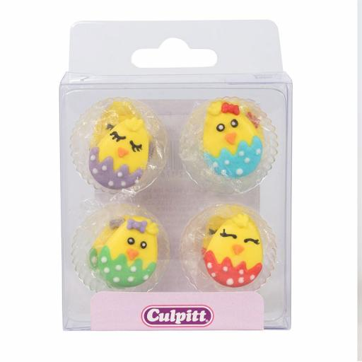 Cute Baby Chick Sugar Pipings - Pack of 12