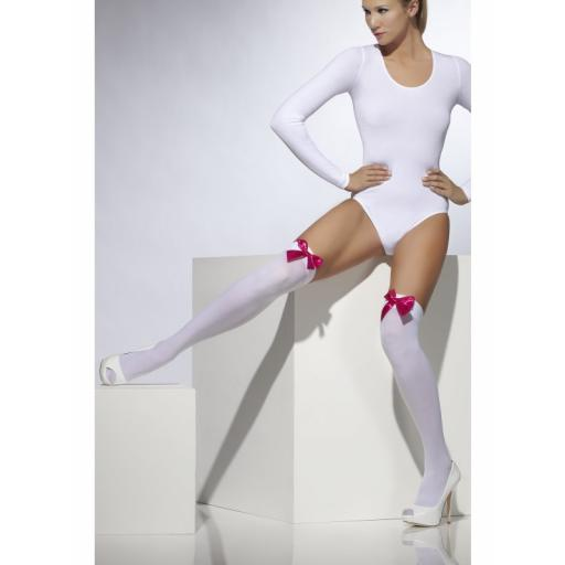 Opaque Hold-Ups Wite with Fuchsia Bows