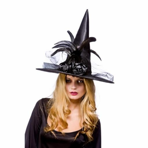 Deluxe Witches Hat with feathers Black