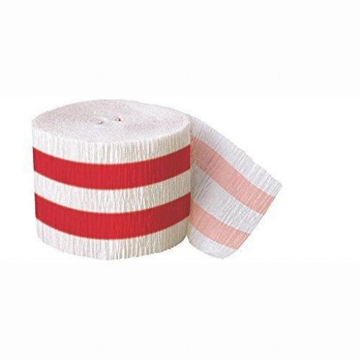 Red Striped Crepe Paper Streamers 30 Ft