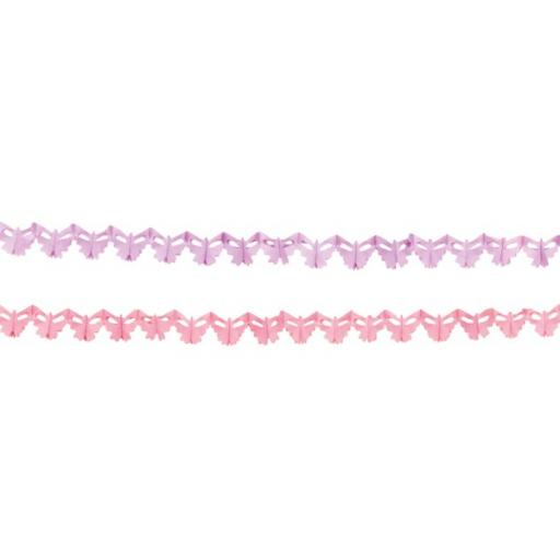 Pink & Lilac Butterfly 2 x 2.5 Metre Paper Garland (approx 7.5 x 5.5 cm each butterfly)
