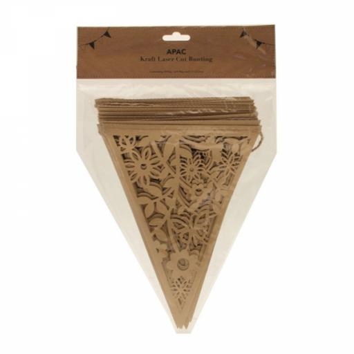 Kraft Laser Cut Paper Lace Bunting (20 flags)