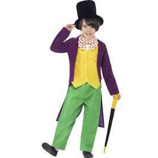 Roald Dahl Willy Wonka Top Trousers Tie Hat & Cane