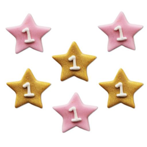 One Star Girl Pink & Gold Sugar Toppers x 6