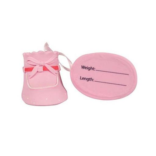 Cake Star Plastic Topper - Baby Booties Pink