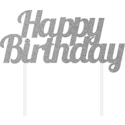 Silver Happy Birthday Glitter Cake Topper 7x3.5 inch