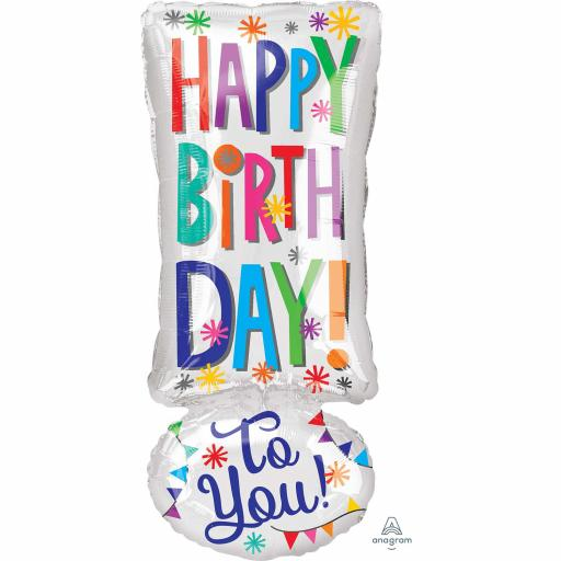 Happy Birthday Exclamation! Junior Shape Foil Balloon 10x25 inch