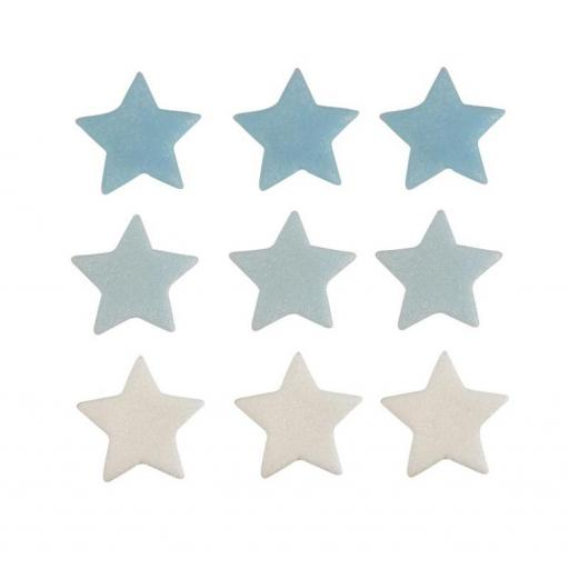 Sugar Small Blue & White Stars 9pcs