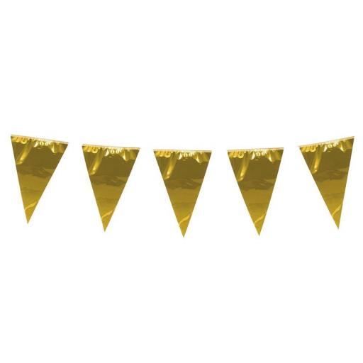 10m Plastic Giant Gold Bunting Garland