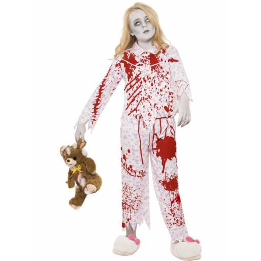 Zombie Pyjama Girl With Top & Trousers