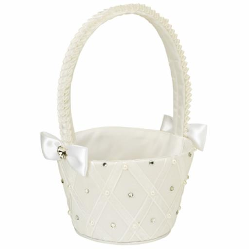 Satin round bridesmaid basket ivory